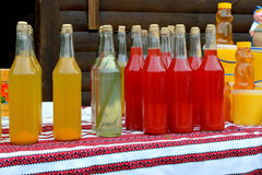 Ukrainian national alcoholic beverages. With herbs, berries and fruit. colorful, bright, tasty Stock Photos
