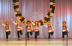 Ukrainian National Dance. In national costume on the stage of the Kyiv Palace of children and youth. Festival embroidered shirts royalty free stock image