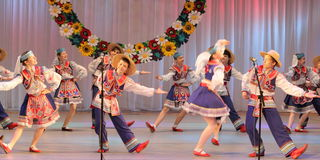 Ukrainian National Dance. In national costume on the stage of the Kyiv Palace of children and youth. Festival embroidered shirts royalty free stock photo