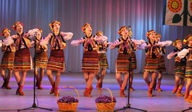 Ukrainian National Dance. In national costume on the stage of the Kyiv Palace of children and youth. Festival embroidered shirts stock photography