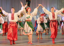 Ukrainian National Dance. In national costume on the stage of the Kyiv Palace of children and youth. Festival embroidered shirts royalty free stock photos