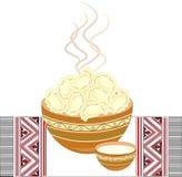 Ukrainian national dish. Vareniki with cottage cheese, potatoes, meat, dumplings . Decoration of the festive table. On an stock illustration