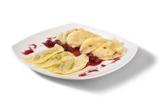 Ukrainian national dish varenyky with cherry Stock Photography