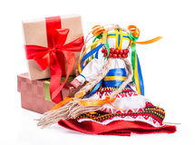 Ukrainian national doll gift box Royalty Free Stock Photos
