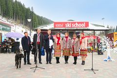 Ukrainian national ensemble singing at Christmas in Bukovel Stock Images
