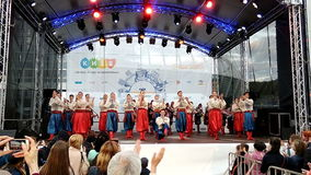 Ukrainian National Folk Dance Ensemble named after P. Virsky perform on stage in Kyiv, Ukraine stock video