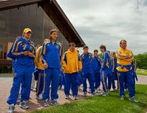 Ukrainian National football team players. KHARKIV, UKRAINE - MAY 22: Ukrainian National football team players during visit to Superior golf club, May 22, 2010 in royalty free stock photos