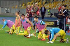 Ukrainian national football team warms-up Stock Photography