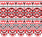 Ukrainian national pattern cross stitch background Stock Images