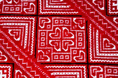Ukrainian national red and black ornament embroidery closeview Royalty Free Stock Image