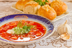 Ukrainian national red borsch Royalty Free Stock Images