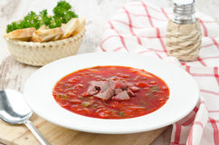 Ukrainian national red borsch Stock Image