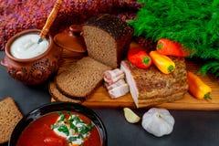 Ukrainian national red borsch soup with brown bread, lard. Garlic, green onion, red pepper stock photography