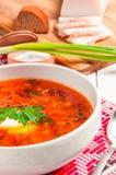 Ukrainian national red borscht with sour cream closeup Royalty Free Stock Images