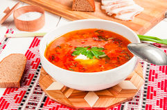 Ukrainian national red borscht with sour cream closeup Royalty Free Stock Photo