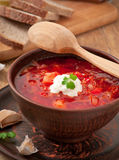 Ukrainian national red soup borsch Royalty Free Stock Photo