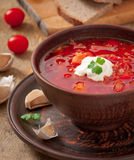 Ukrainian national red soup borsch Royalty Free Stock Image
