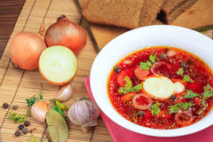 Ukrainian national soup closeup Stock Photos