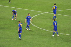 Ukrainian national team players before the game Stock Photography