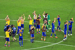 Ukrainian national team players to thank fans Stock Photography