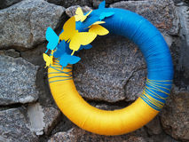 Ukrainian national yellow-blue lifebuoy Stock Photography