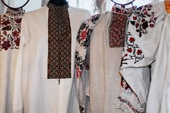 The Ukrainian native traditional embroidered shirts vyshivanka display. In Ostroh town, Ukraine royalty free stock image