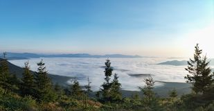 Ukrainian nature panoramic landscape. Carpathians mountains, west Ukraine. Dense forest on hillsides. Low clouds. Floating between mountain ranges. Blue clear stock photography