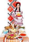 Ukrainian near table with snacks Stock Photos