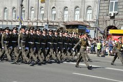 Ukrainian officers marching at the military parade stock photo