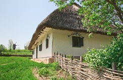 Ukrainian old log hut Royalty Free Stock Photography