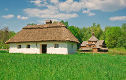 Ukrainian old log hut Stock Photos