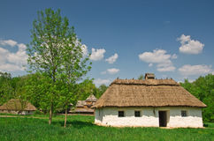Ukrainian old log hut Stock Images