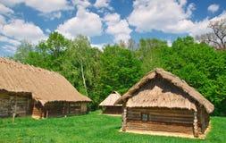 Ukrainian old log hut Stock Photo