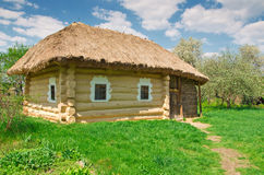 Ukrainian old log hut Stock Photo