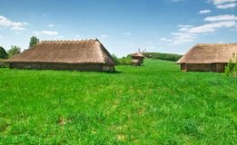 Ukrainian old log hut Stock Images