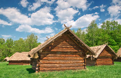 Ukrainian old log hut Royalty Free Stock Photography