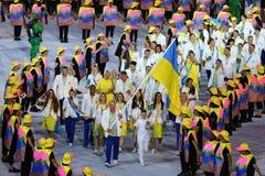 Ukrainian Olympic team marched into the Rio 2016 Olympics opening ceremony at Maracana Stadium in Rio de Janeiro Royalty Free Stock Photos