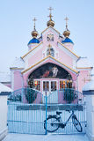 Ukrainian Orthodox church Sobor Svyato-Voskresenski. Y pink color on Kovel winter evening Royalty Free Stock Image
