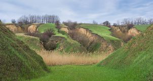 Ukrainian panoramic landscape with soil erosion Stock Images