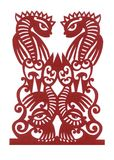 Ukrainian paper cutting 'Four Fishes' Stock Image