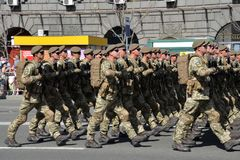 Ukrainian paratroopers marching at the military parade royalty free stock photo