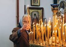Ukrainian parishioners of the Orthodox Church. LUTSK, UKRAINE - 14 OCTOBER 2017: Ukrainian parishioners of the Orthodox Church during Slavonic Religious Stock Photo