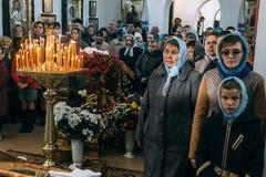 Ukrainian parishioners of the Orthodox Church. Voyutyn, Volyn / UKRAINE - OCTOBER 14 2017: Ukrainian parishioners of the Orthodox Church during Slavonic Royalty Free Stock Image