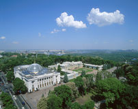 Ukrainian parliament and Mariyinsky Palace top view. In springtime. Blue sky with clouds in background Stock Photography