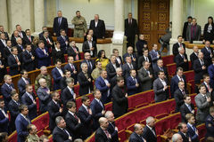 The Ukrainian Parliament resumes work with new structure 27 November 2014. Elected people's deputies of Ukraine take oaths during first meeting of the Stock Photography