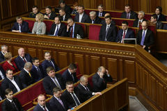 The Ukrainian Parliament resumes work with new structure 27 November 2014. Elected people's deputies of Ukraine take oaths during first meeting of the Royalty Free Stock Photography