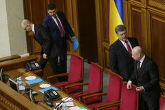 The Ukrainian Parliament resumes work with new structure 27 November 2014. Elected people's deputies of Ukraine take oaths during first meeting of the Royalty Free Stock Images