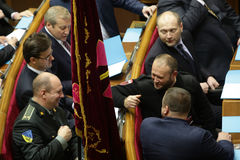 The Ukrainian Parliament resumes work with new structure 27 November 2014 Kiev, Ukraine. Leader of political party 'Right Sector' (Pravyi Sector) Dmytro Yarosh ( Stock Images