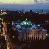 Ukrainian parliament top view Stock Photo