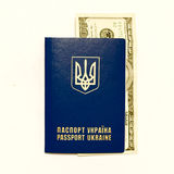 Ukrainian passport and cash on whine Royalty Free Stock Photo